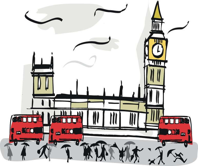London Big Ben Westminster Cartoon