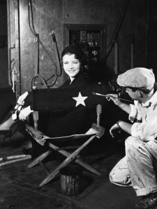 Retro Female Movie Star on Director's Chair