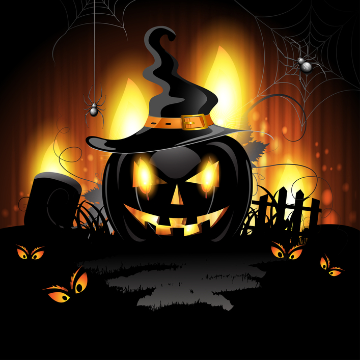 Illustration Halloween Pumpkin Jack Graveyard